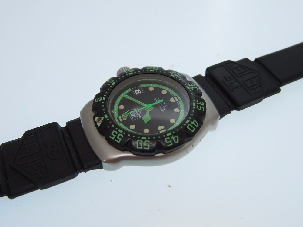 AUTHENTIC TAG HEUER WA 1415 Wrist watch Black Lime Green ...