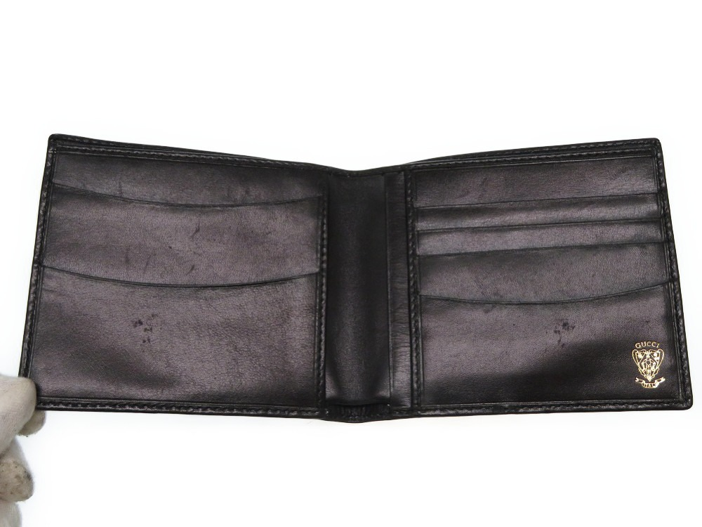 084d558c939 AUTHENTIC GUCCI Old Gucci Bill Compartment Bifold Wallet Black ...