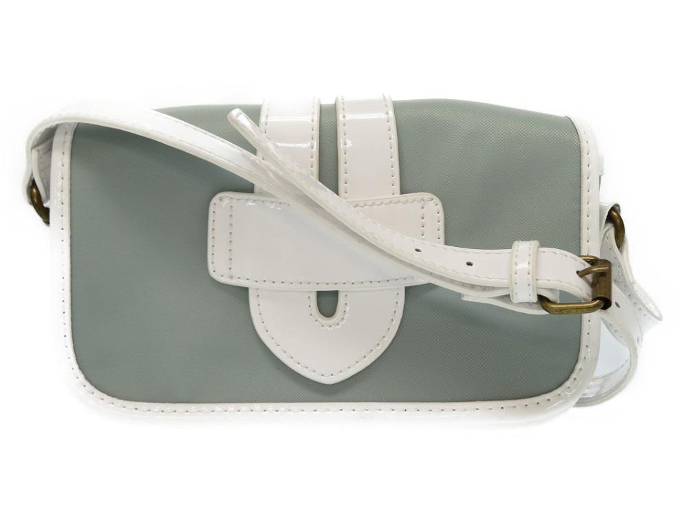 0e721165ec AUTHENTIC TILA MARCH Shoulder Bag White gray Nylon Leather 0469