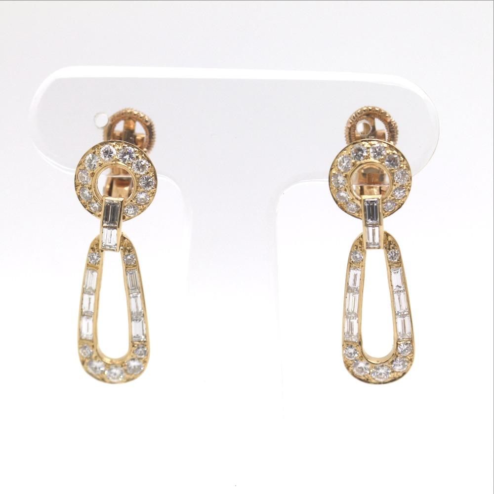 AUTHENTIC CARTIER design Earring 18K Yellow Gold/diamond Women   eBay